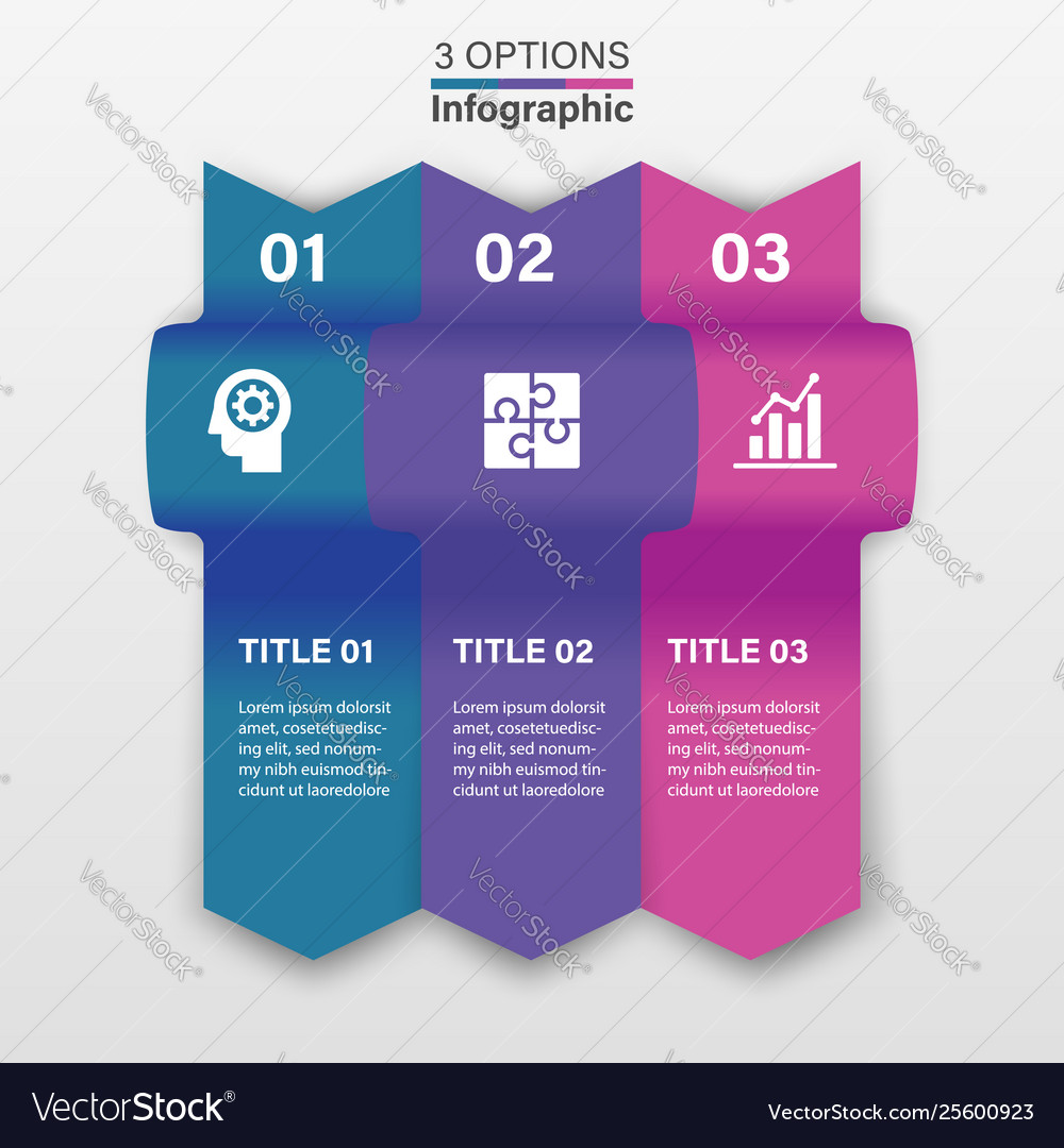 Three infographic elements ribbons arrows