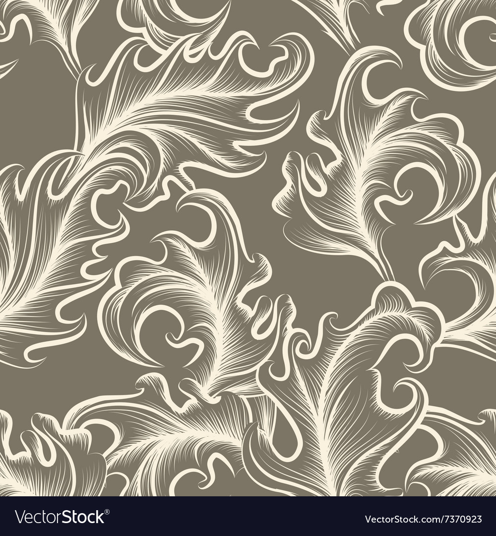 Victorian Leaves Seamless Pattern Royalty Free Vector Image