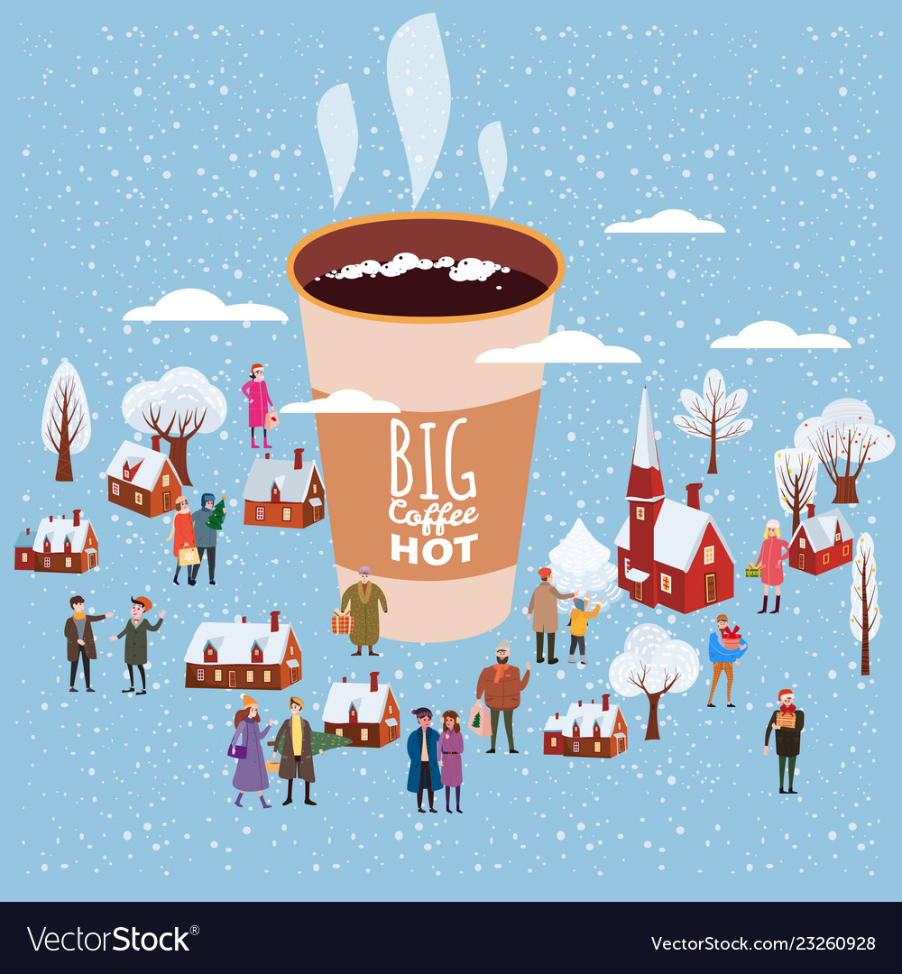 A big cup of coffee people of men and women in
