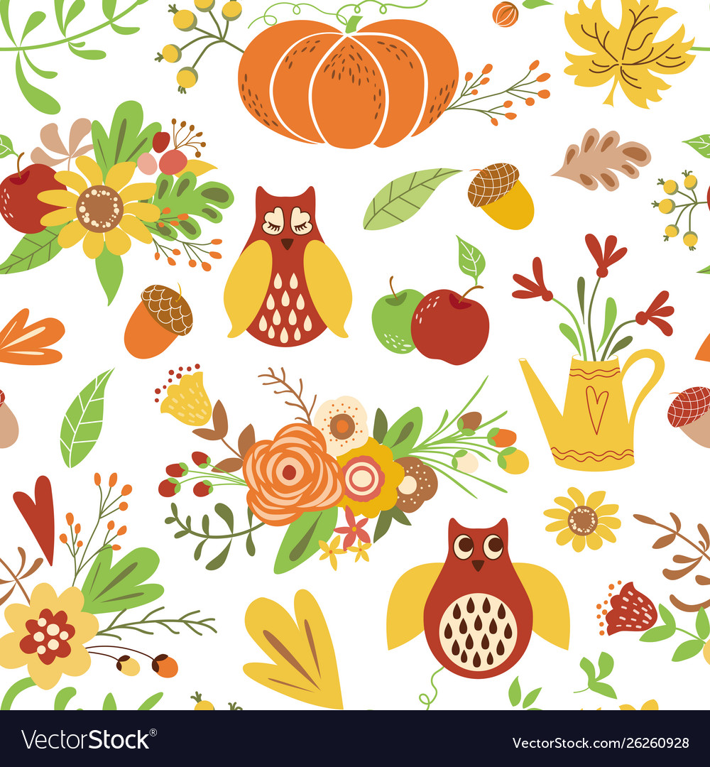 Autumn seamless pattern cute doodles card hand