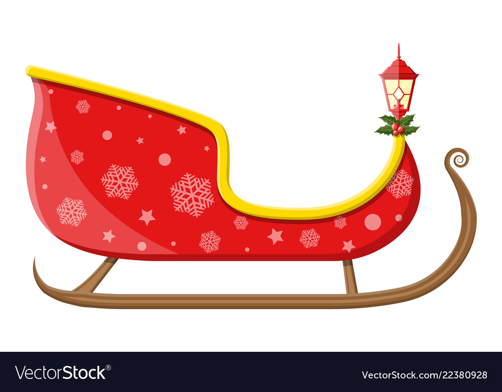 Empty santa sleigh with snowflakes holly and lamp