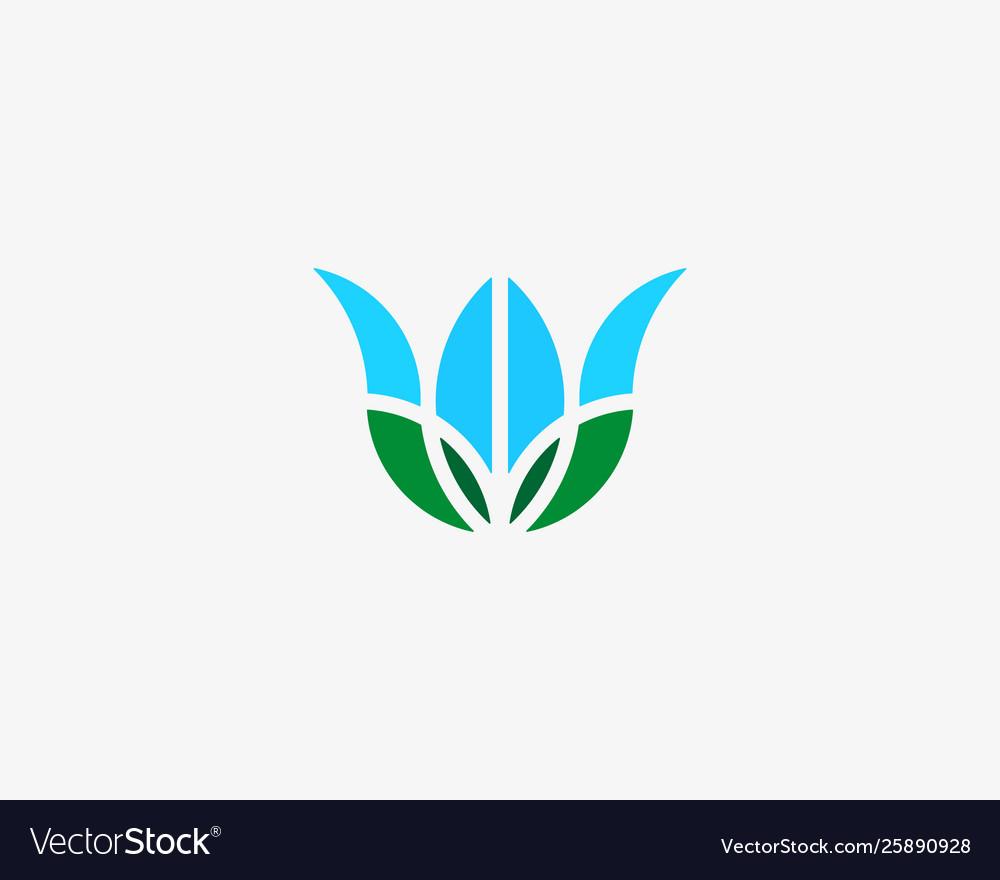 Flower earth globe logo tulip planet leaf