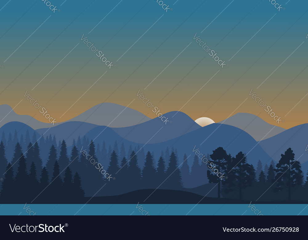 Forest landscape abstract nature background with