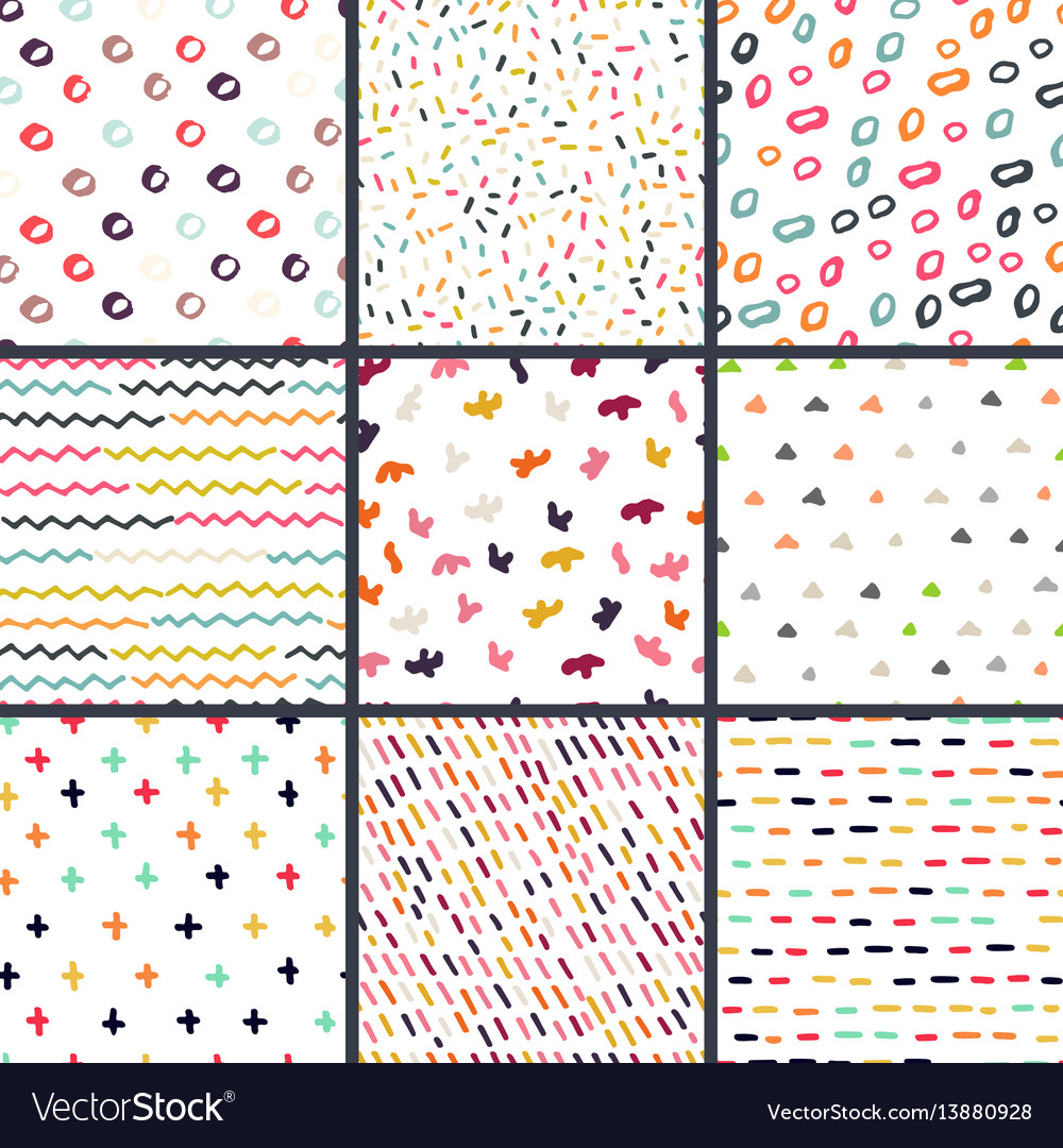 Hand drawn seamless pattern collection simple