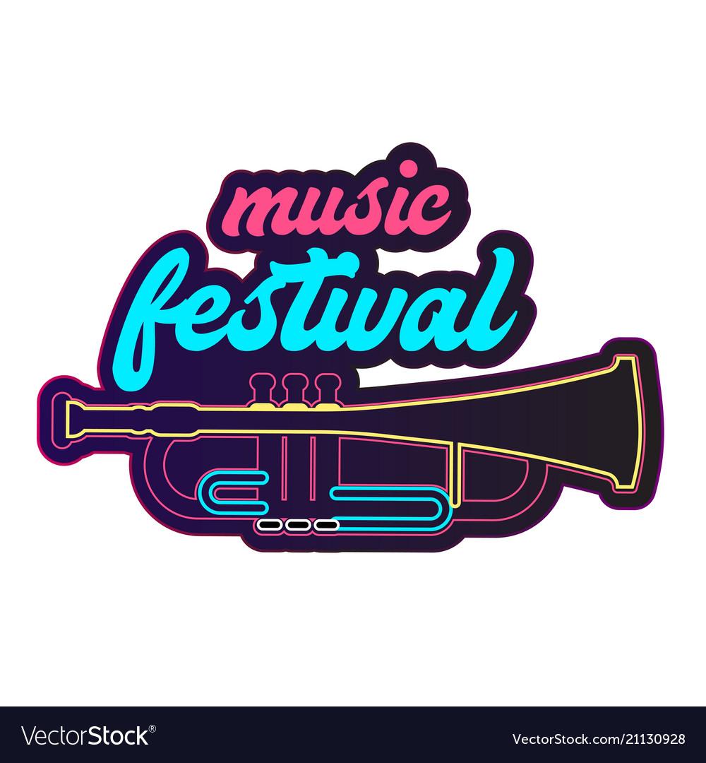 Neon music festival trumpet background imag