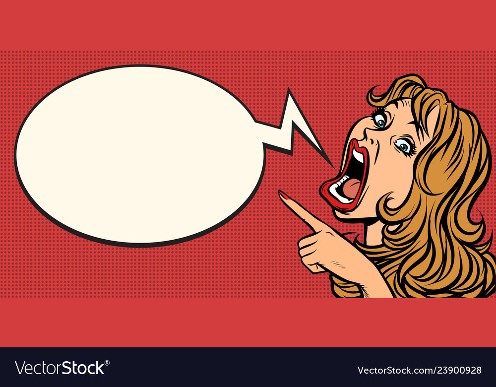 Pop art woman points funny emotional girl