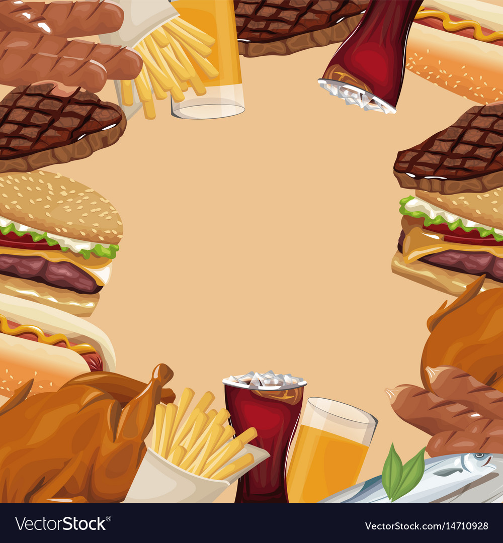 poster border fast food different royalty free vector image
