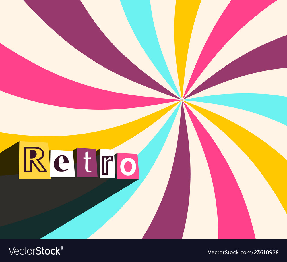Retro background with colorful rays twisted star