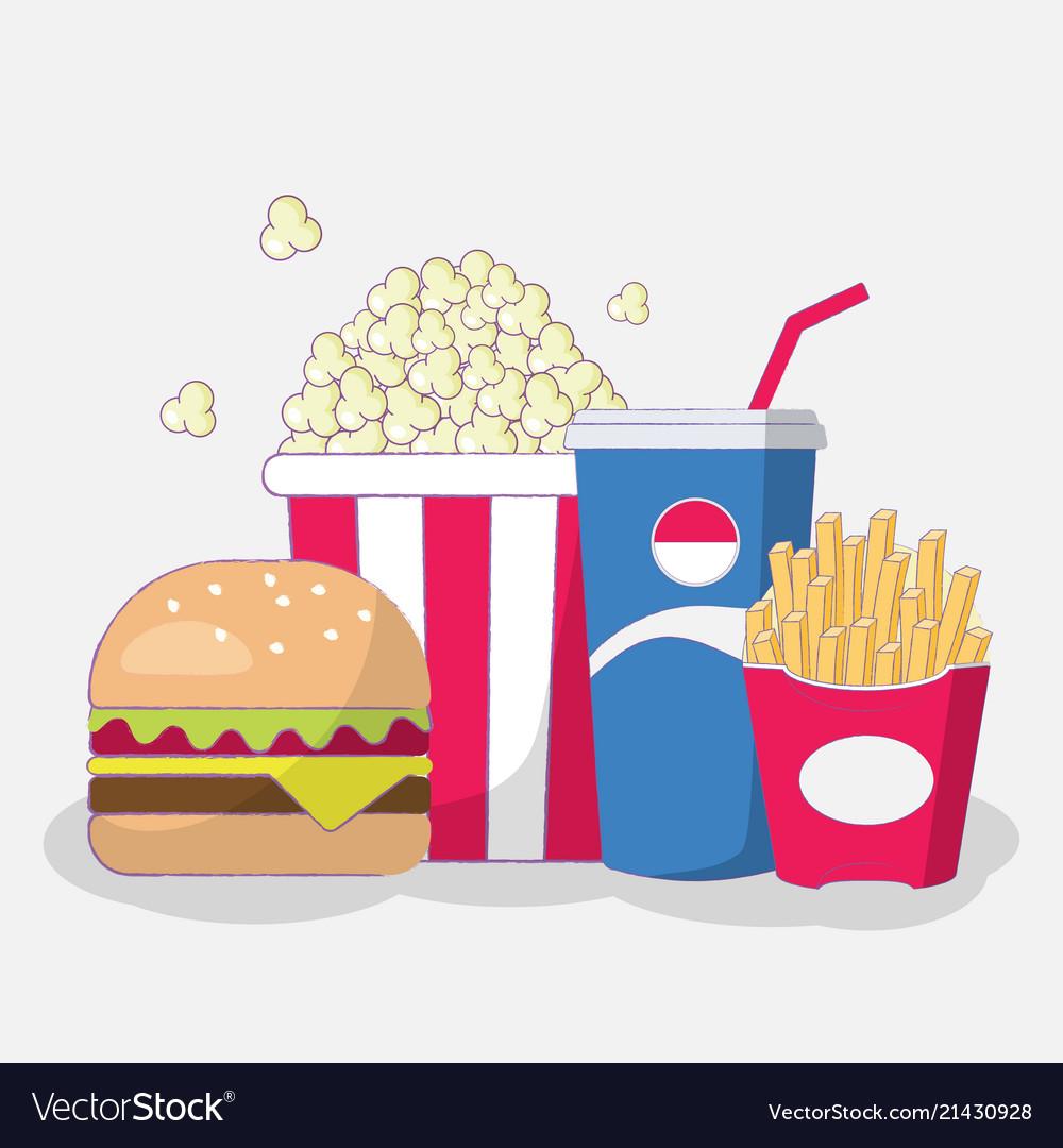 Set of fast food cute cartoon art