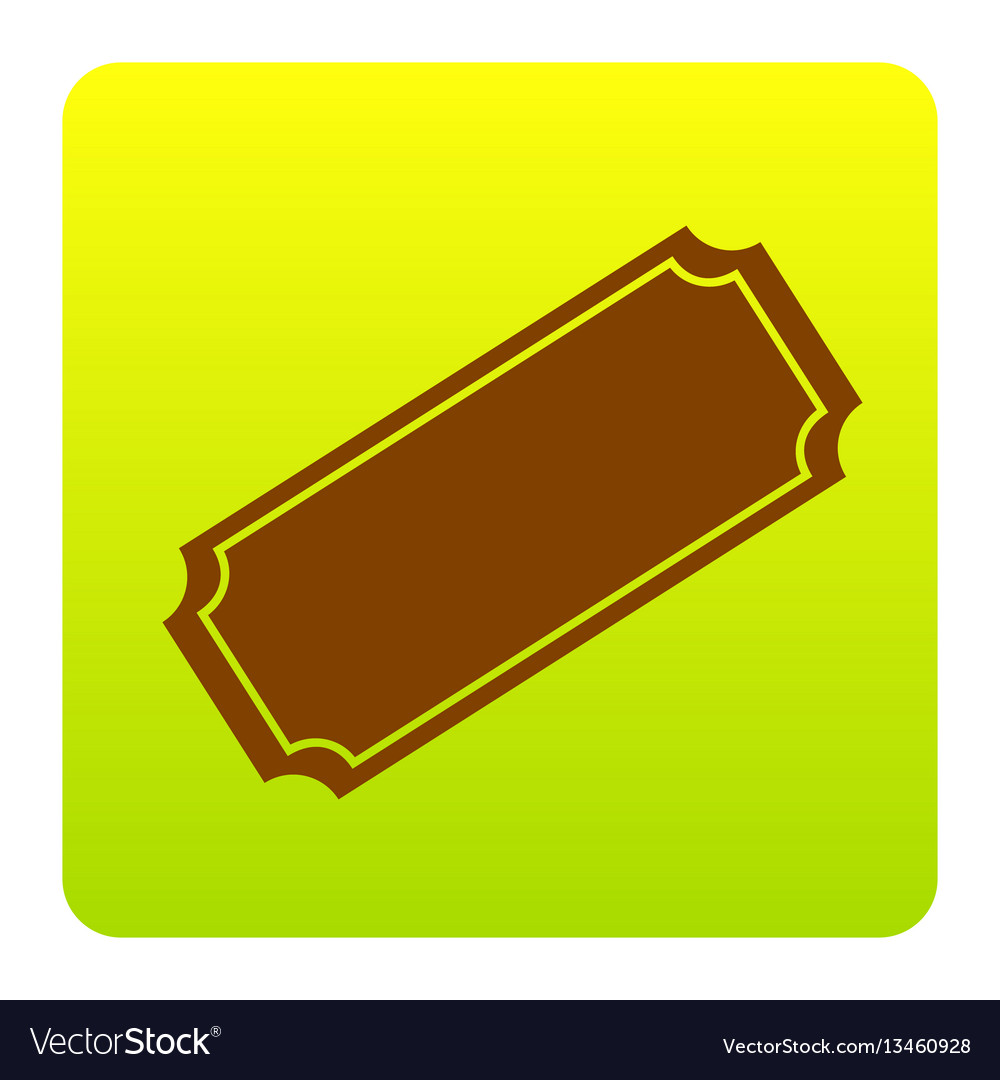 Ticket sign brown icon at