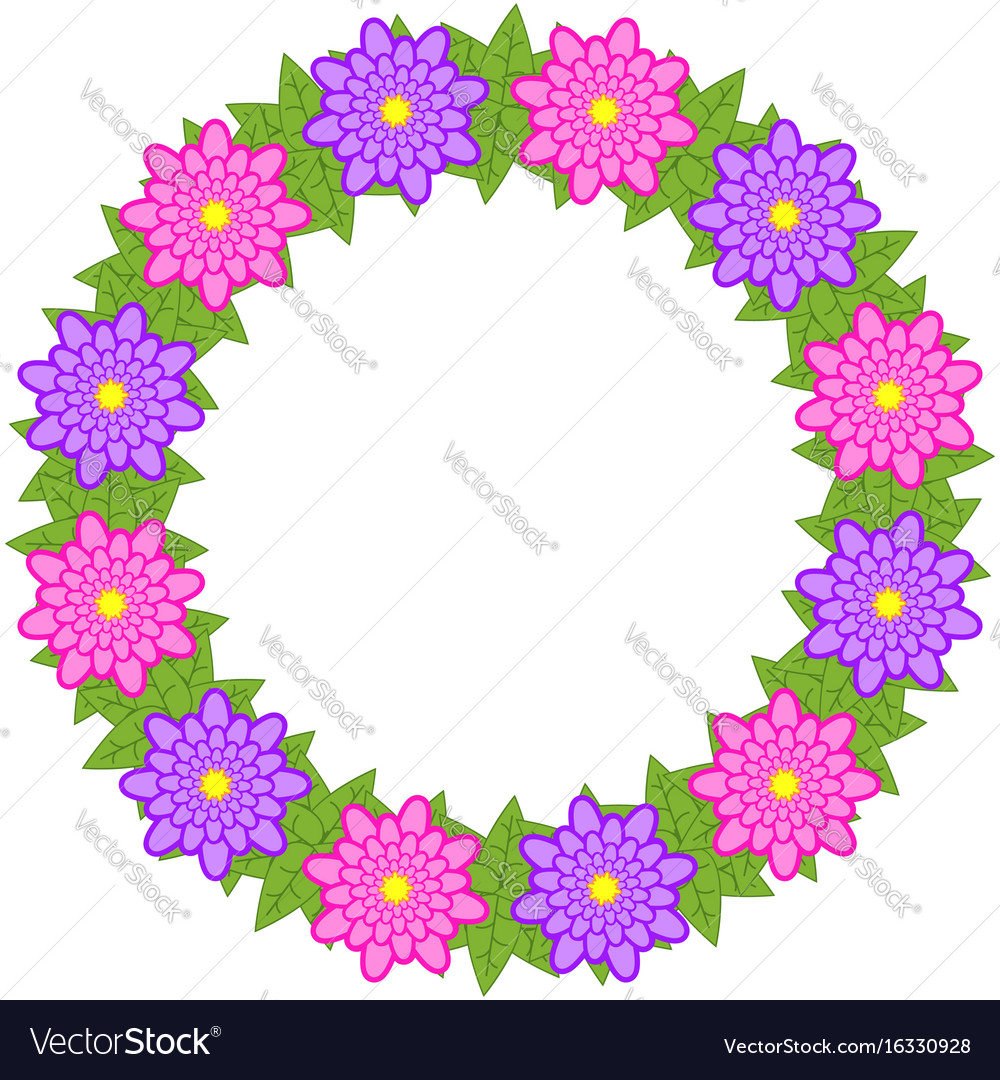 Wreath Of Pink And Purple Flowers On A White Vector Image