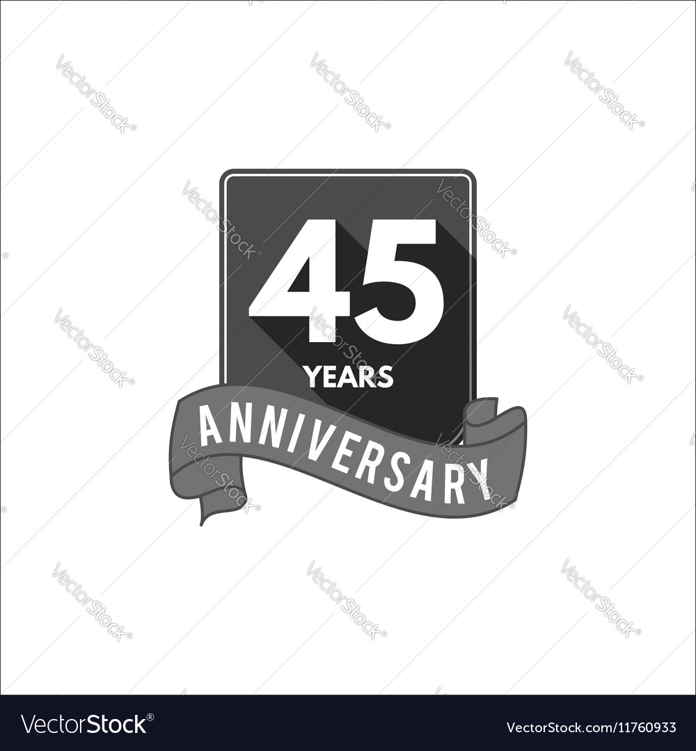 45 years anniversary party badge sign and emblem