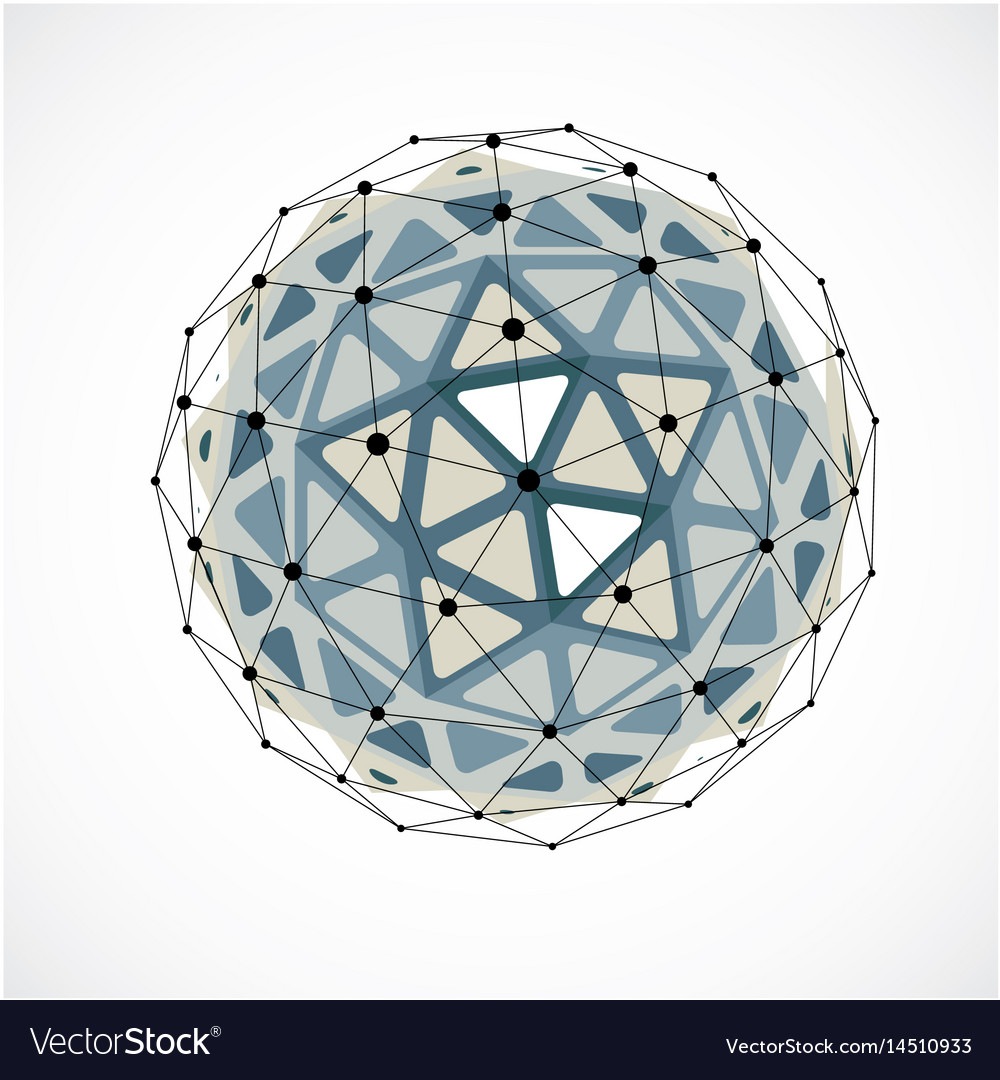 Abstract low poly object with black lines and