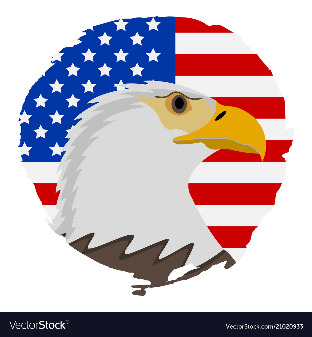American Flag With Eagle Icon Happy 4 Th July And Vector Image