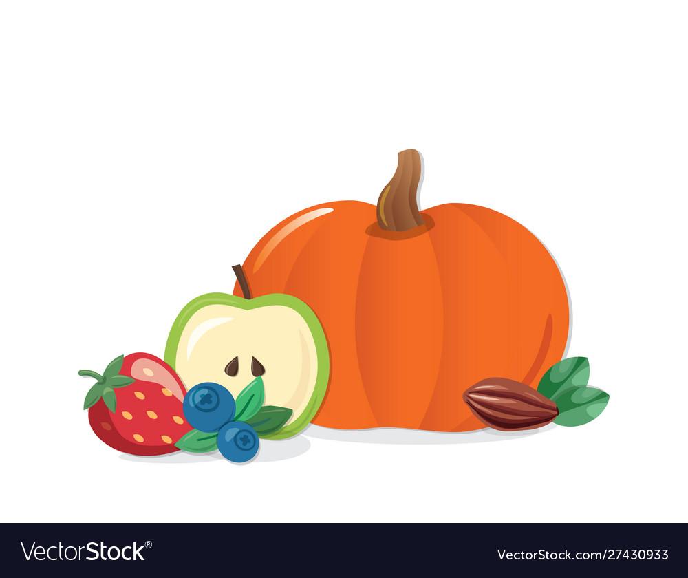 Autumn harvest cartoon icon pumpkin fruits and