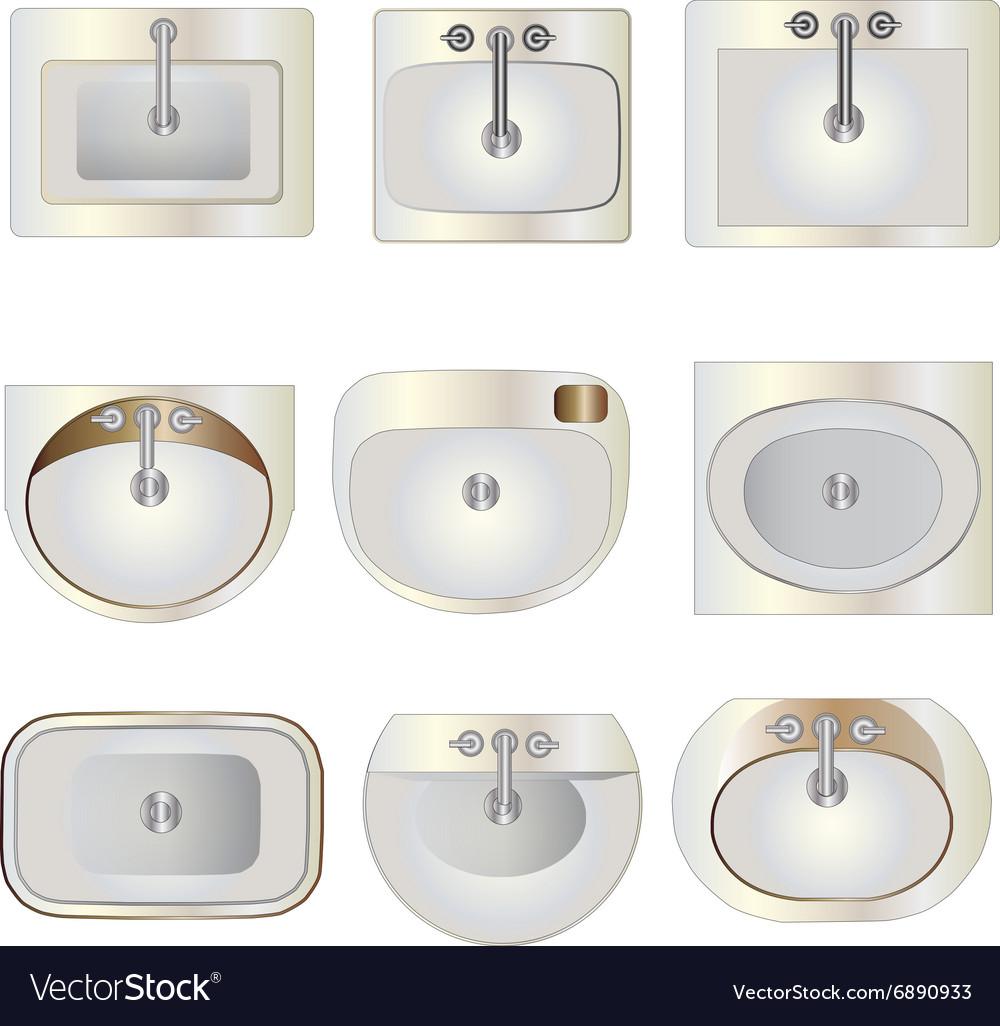 Bathroom wash basin set 9 top view for interior