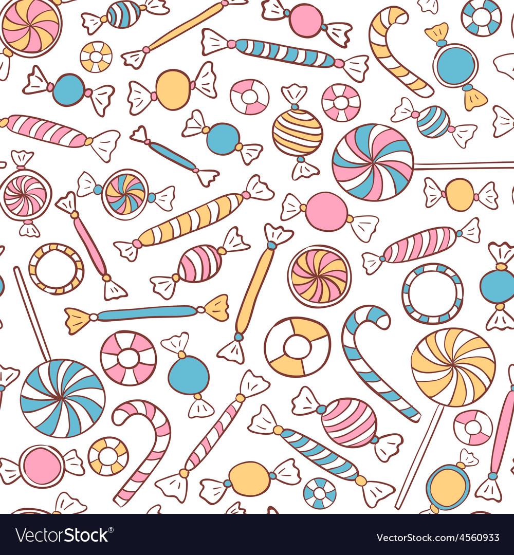 Candies Seamless Pattern Hand Drawn