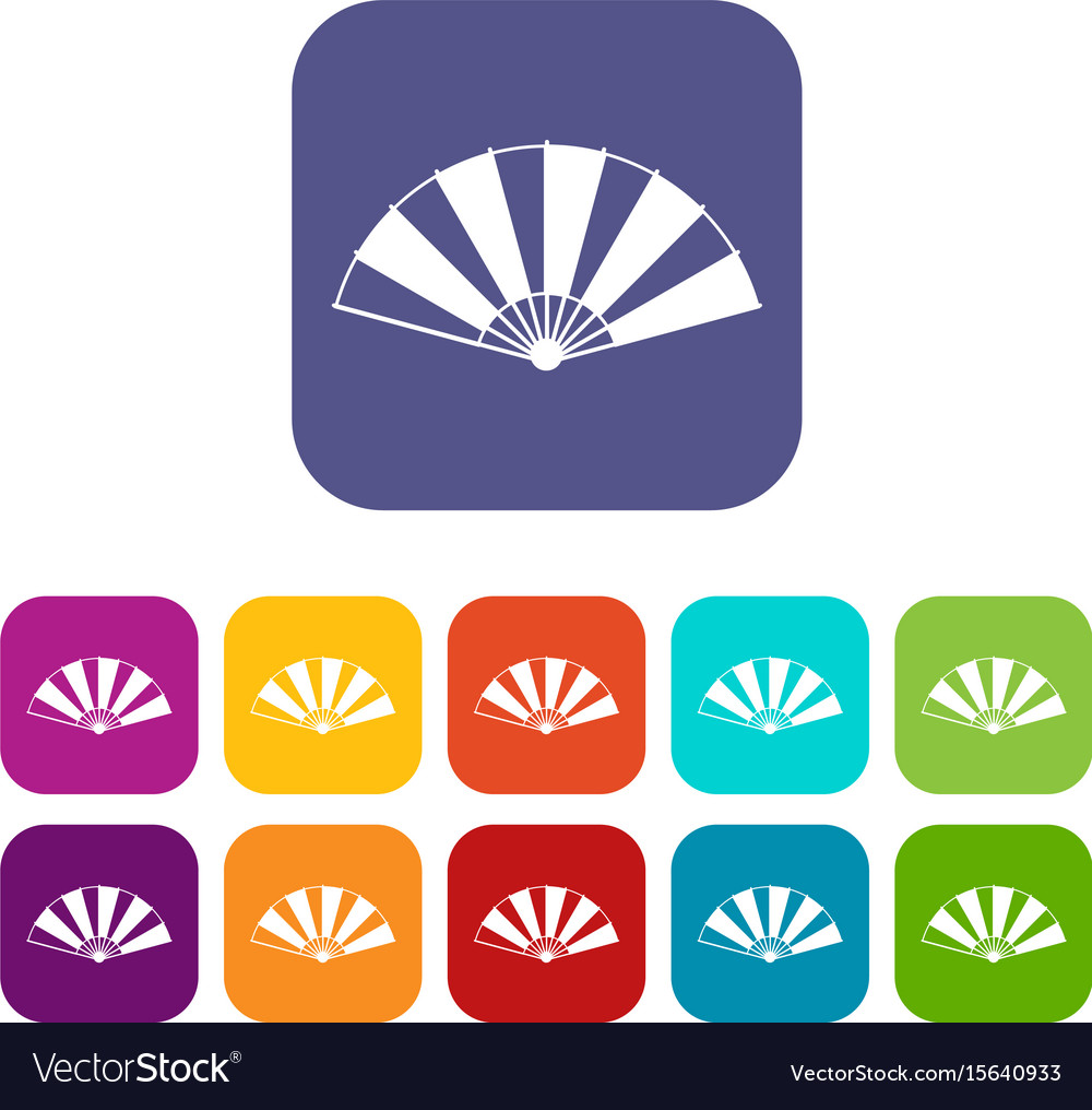 Chinese fan icons set flat vector image