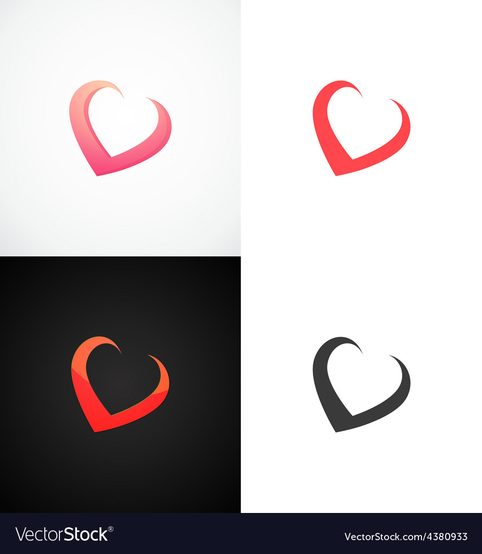 Concept Hearts on different backgrounds