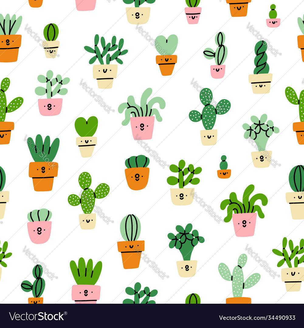 Cute little prickly cactuses cartoon pattern
