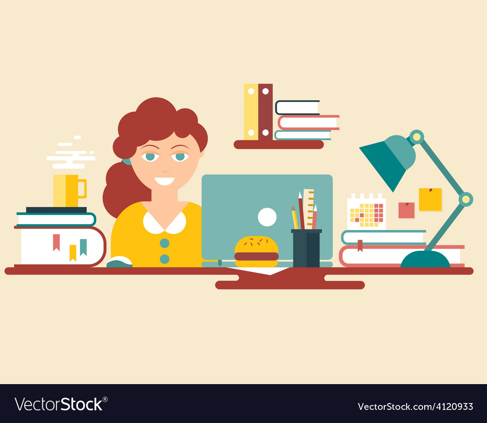 Flat style design work place