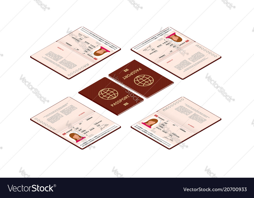 Isometric blank open passport template Royalty Free Vector