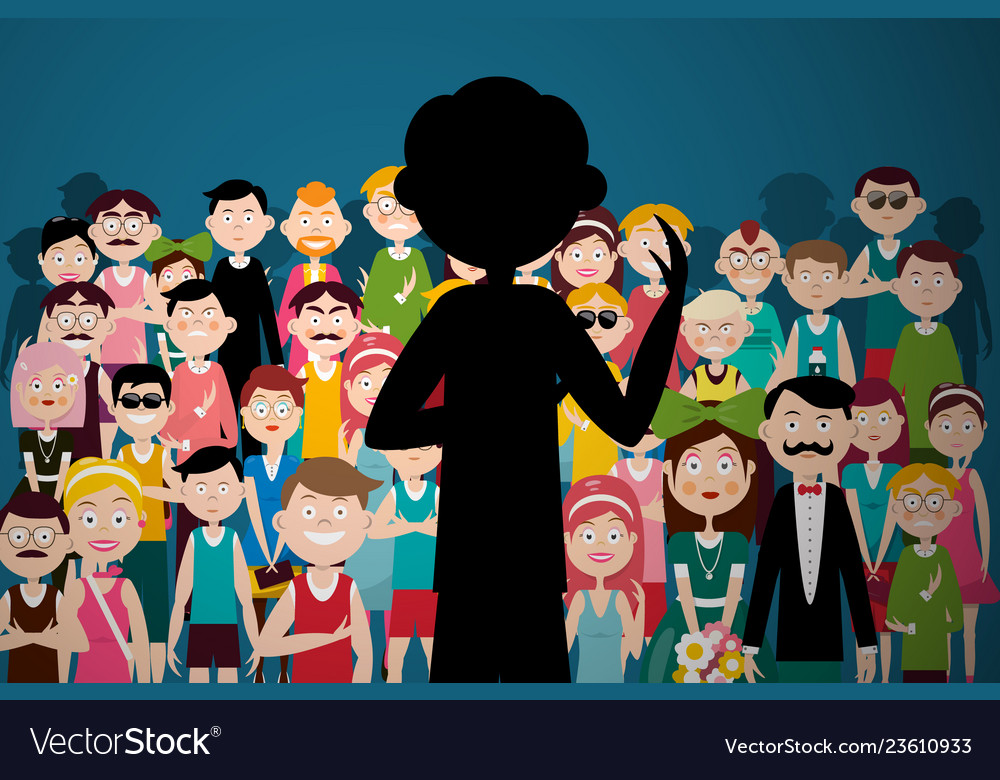 Man speaking to audience person silhouette on