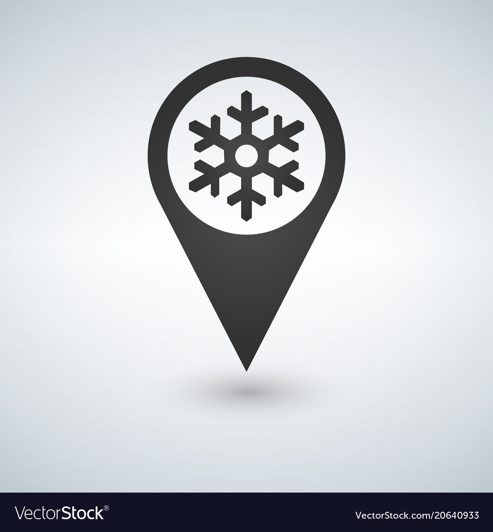 Map location with snowflake on white background