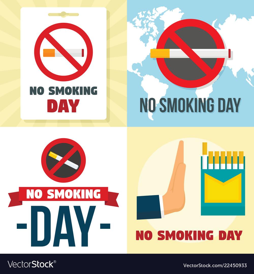 No Smoking Day Banner Set Flat Style Royalty Free Vector