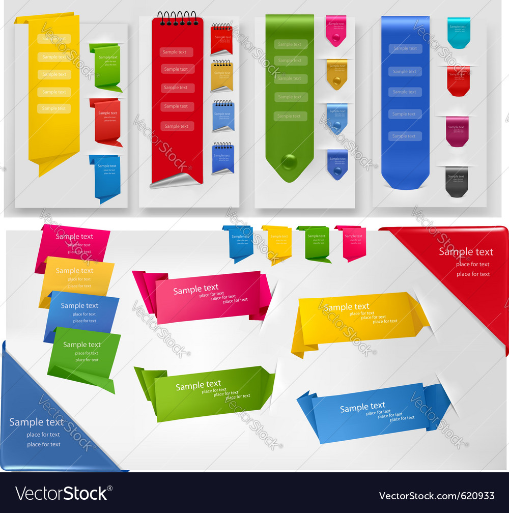 Origami paper banners vector image