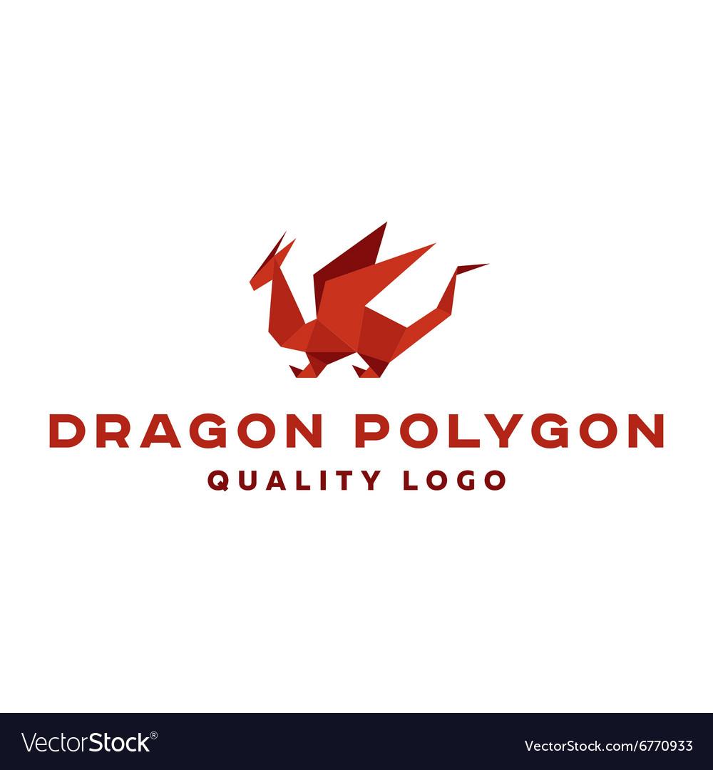 Polygon dragon origami logo professional