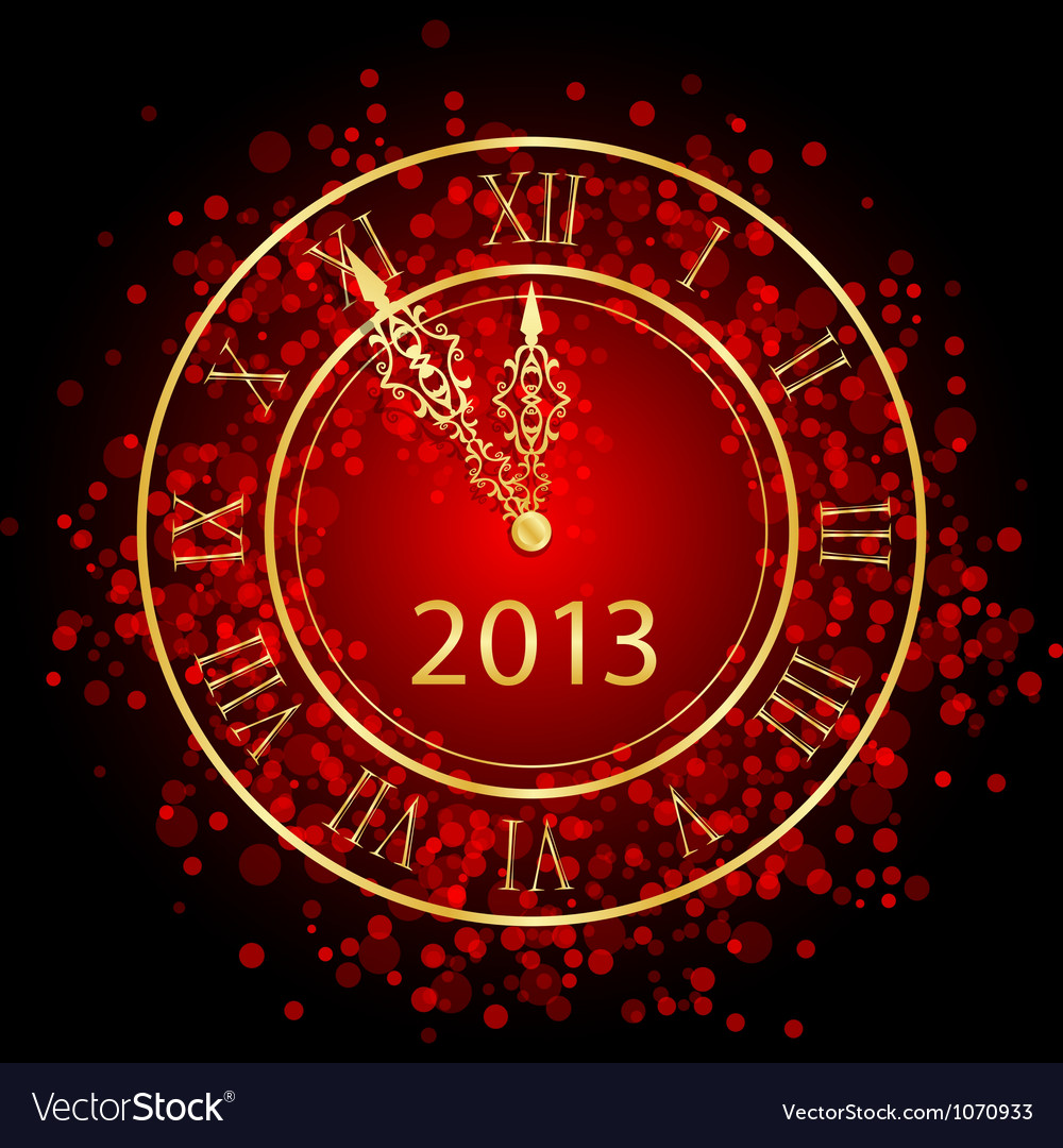 Red and gold New Year clock vector image