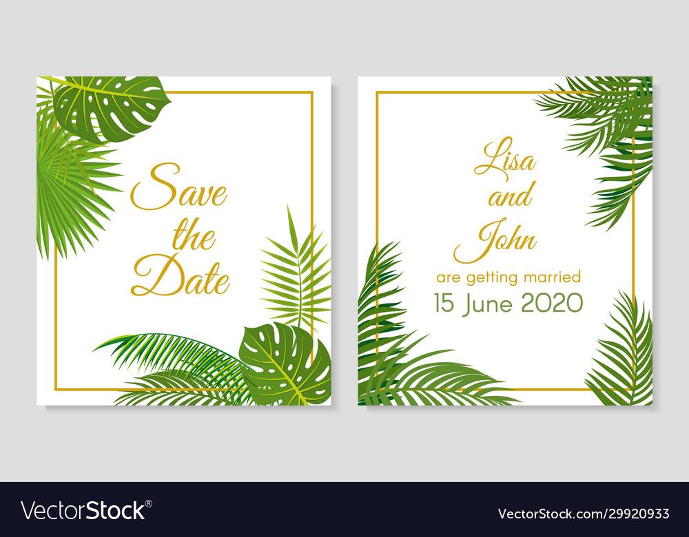 Wedding invitation tropical leaves simple