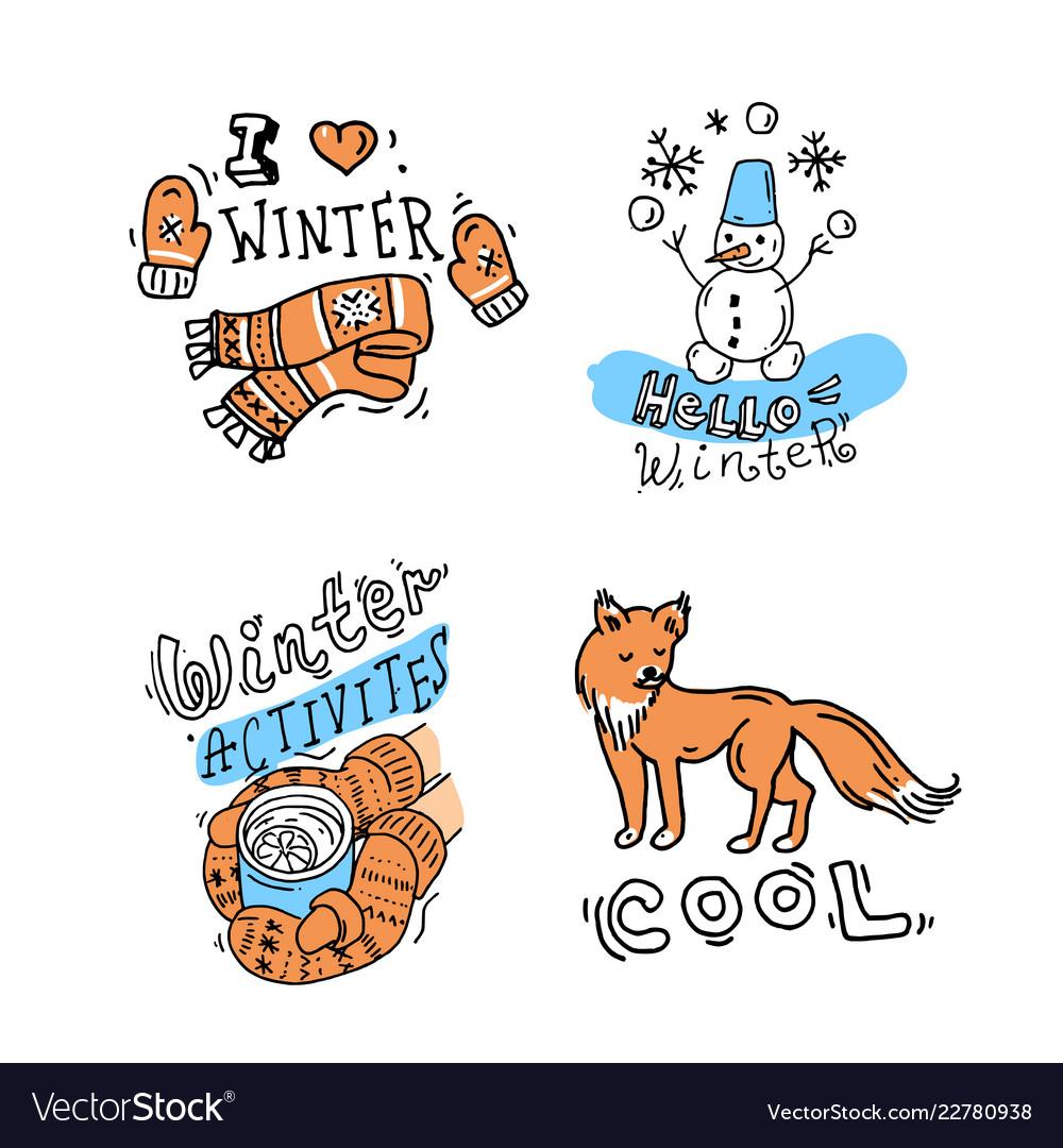 Beautiful hand drawn winter