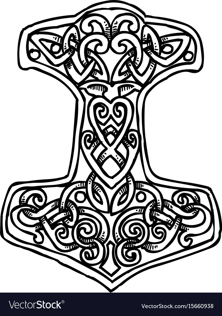 Cartoon image of thor hammer icon vector image