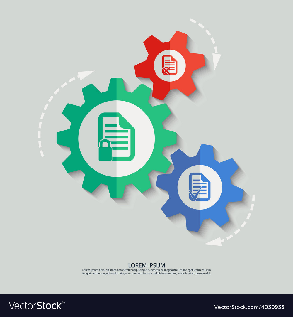 Color cogwheels with document icons