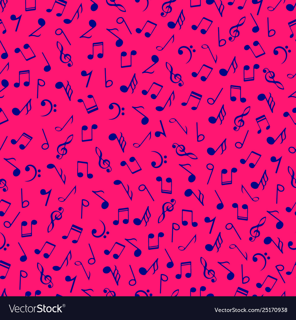 Colorful music notes seamless pattern blue colors