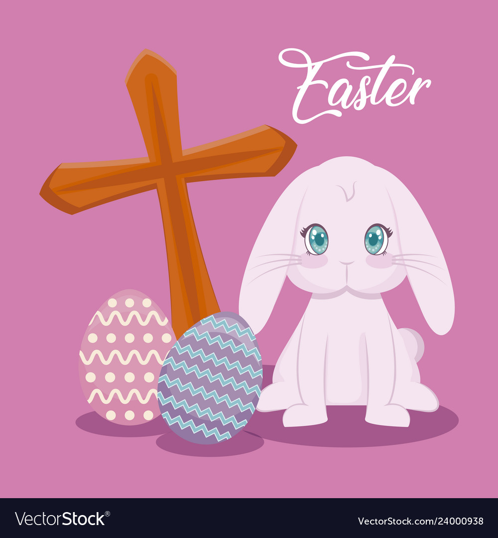 Happy easter day card with cute rabbit and cross