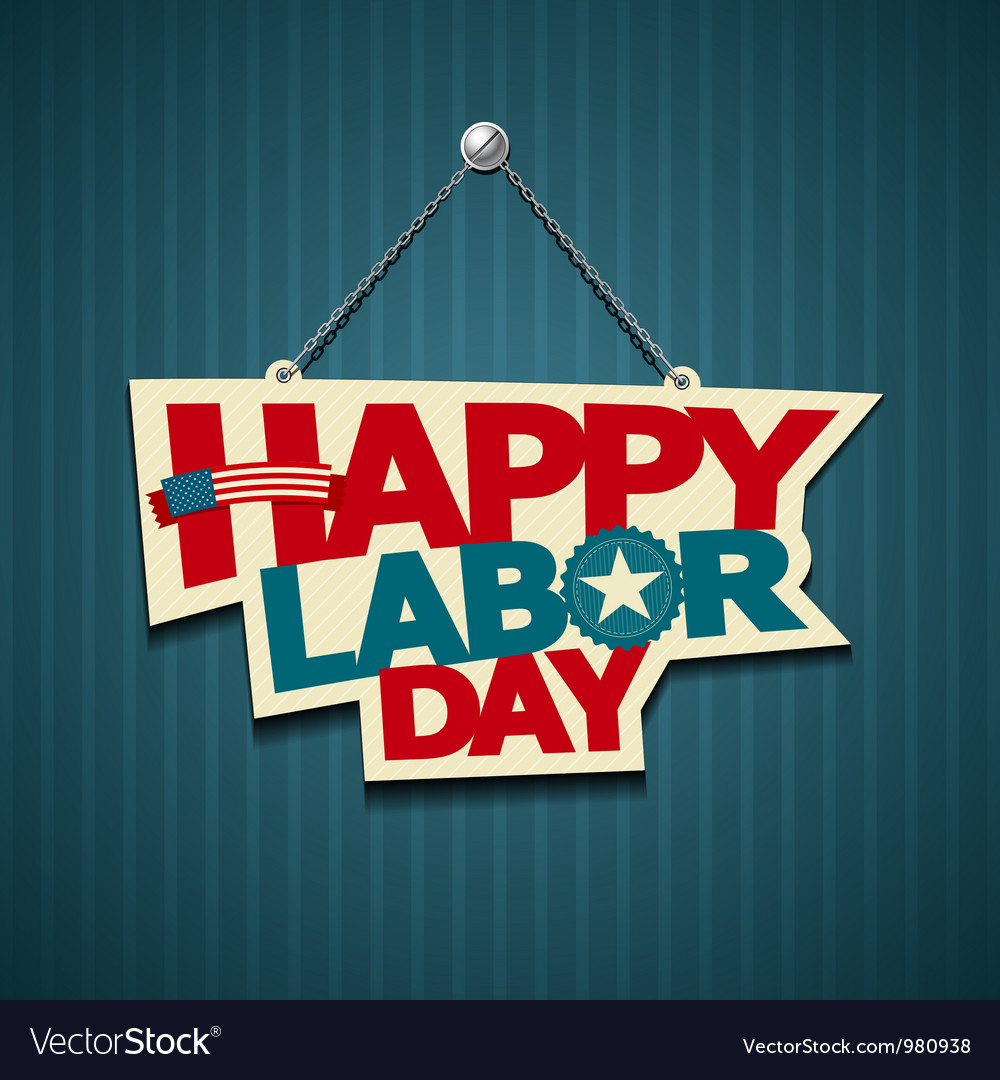 Happy Labor Day American Text Signs Royalty Free Vector