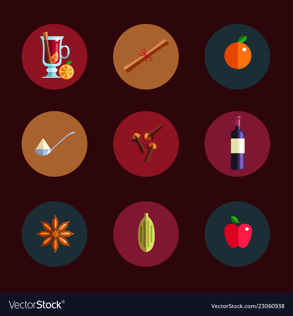 Mulled wine infographic concept winter season hot