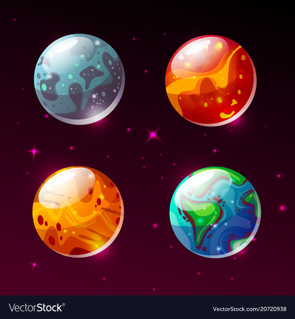 Planets in space galaxy cartoon