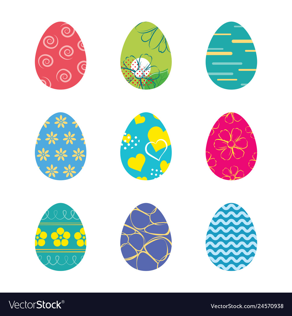 Set easter eggs isolated in white background
