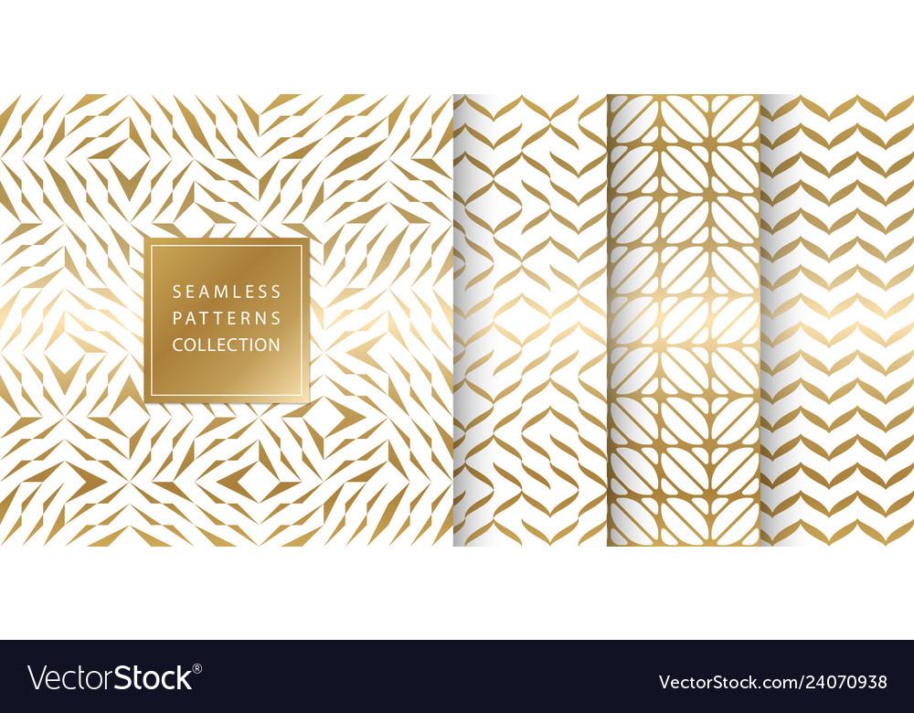 Set golden seamless patterns texture