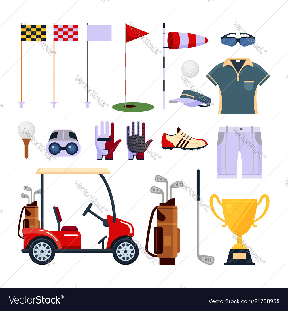 Set of golf equipment icon logo in flat style