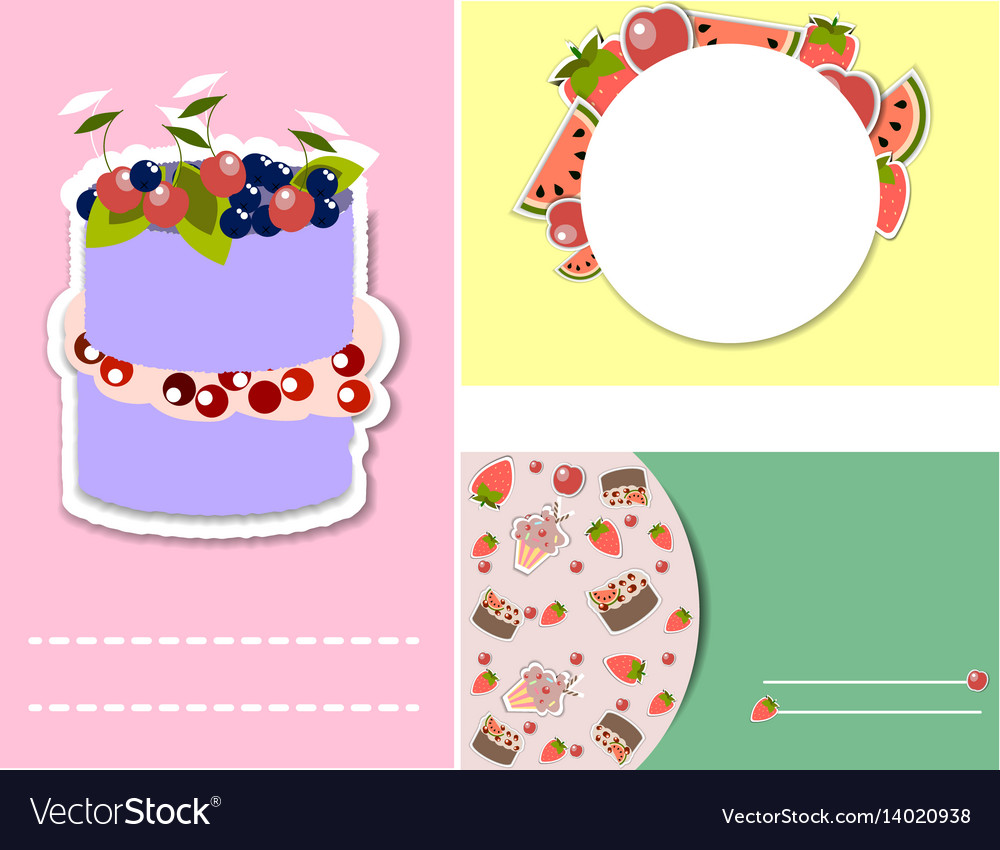 Set of templates for birthday party invitation