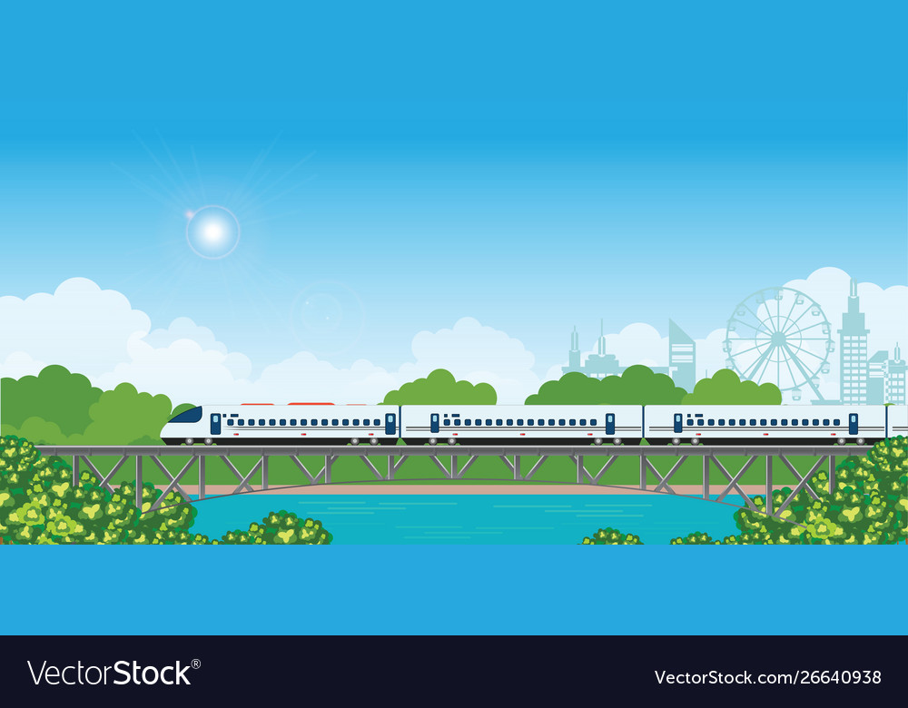 Speed train on railway bridge with forest and