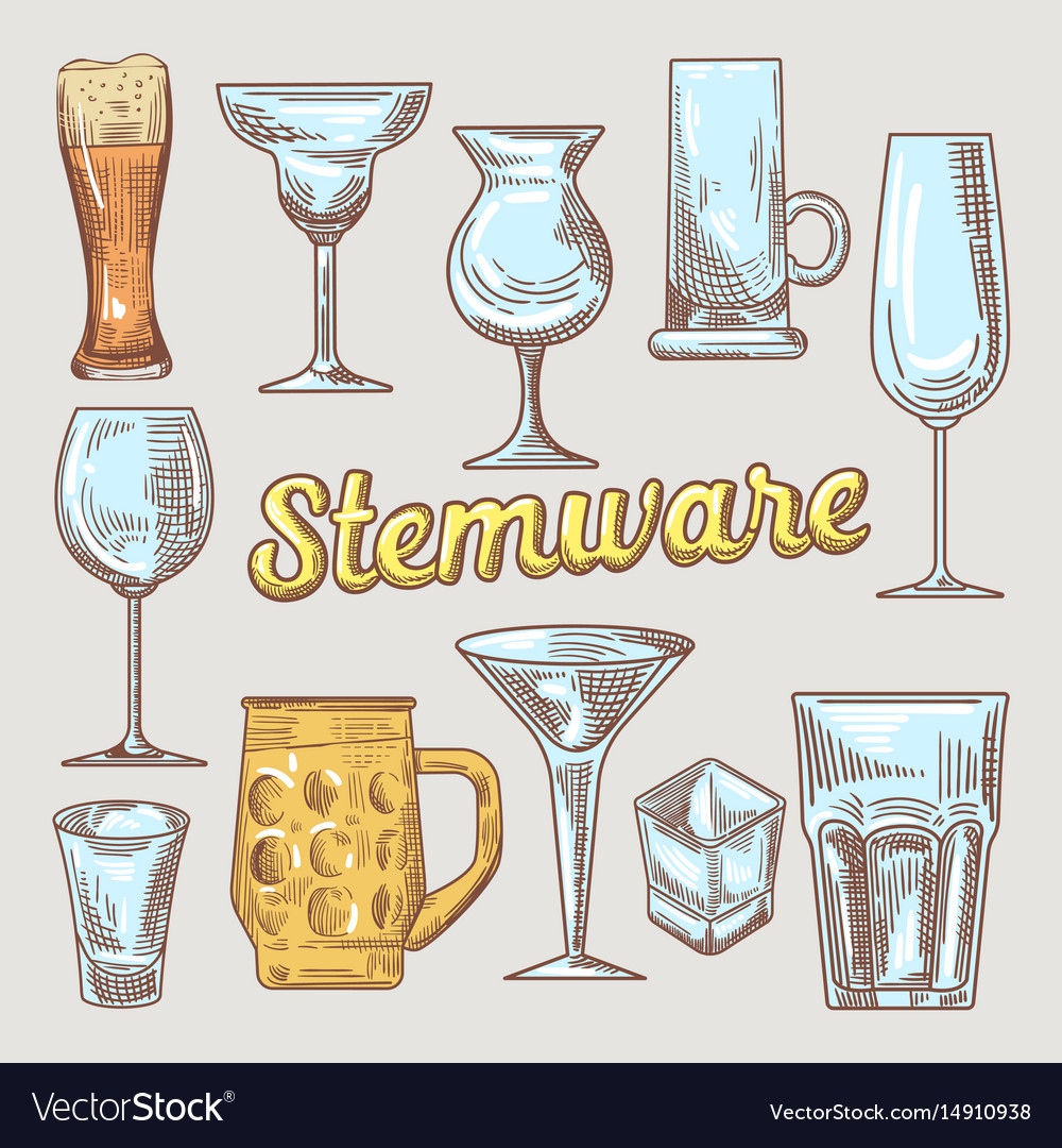 Stemware hand drawn glasses