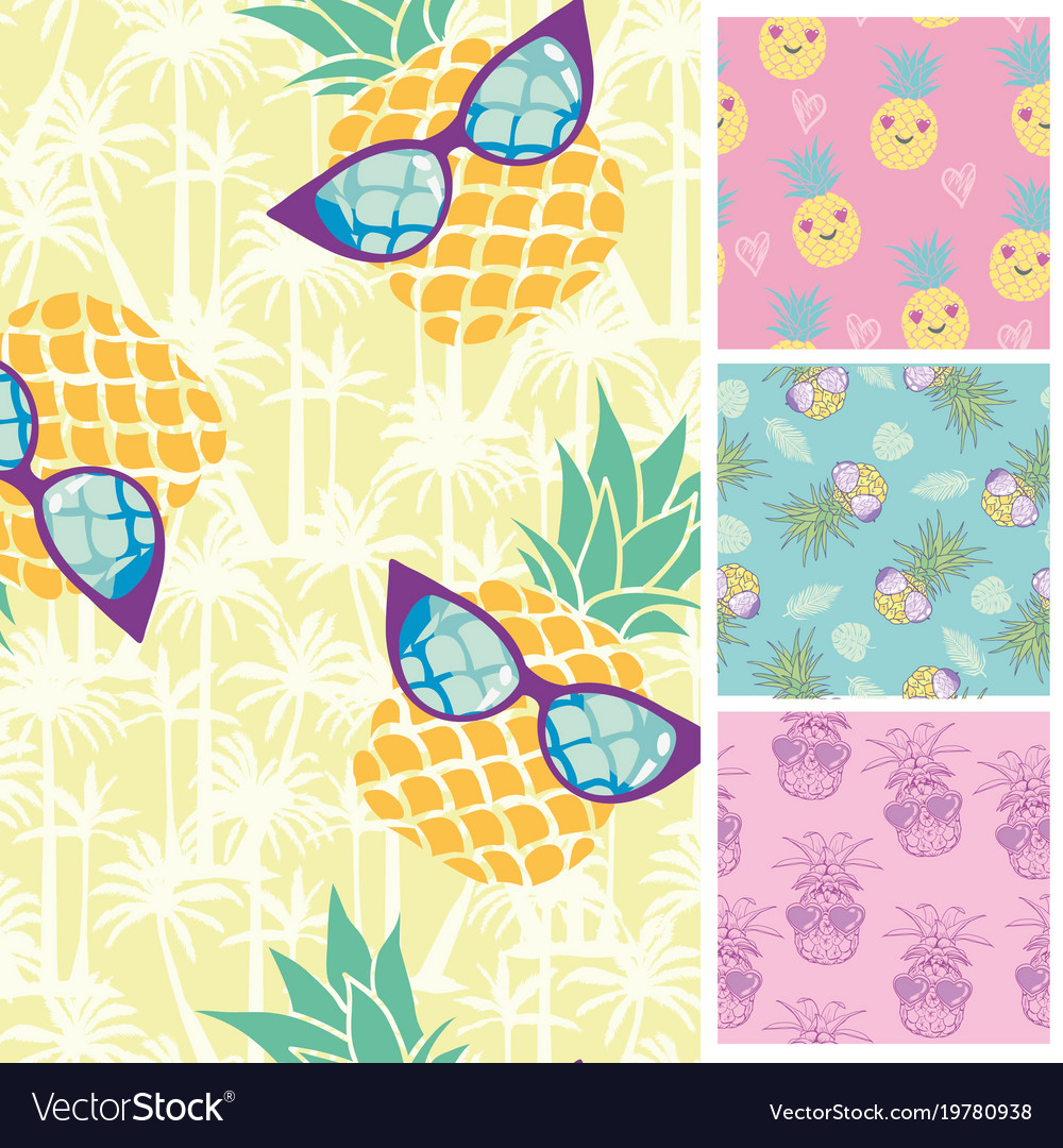 Summer trendy seamless patterns of nature tile