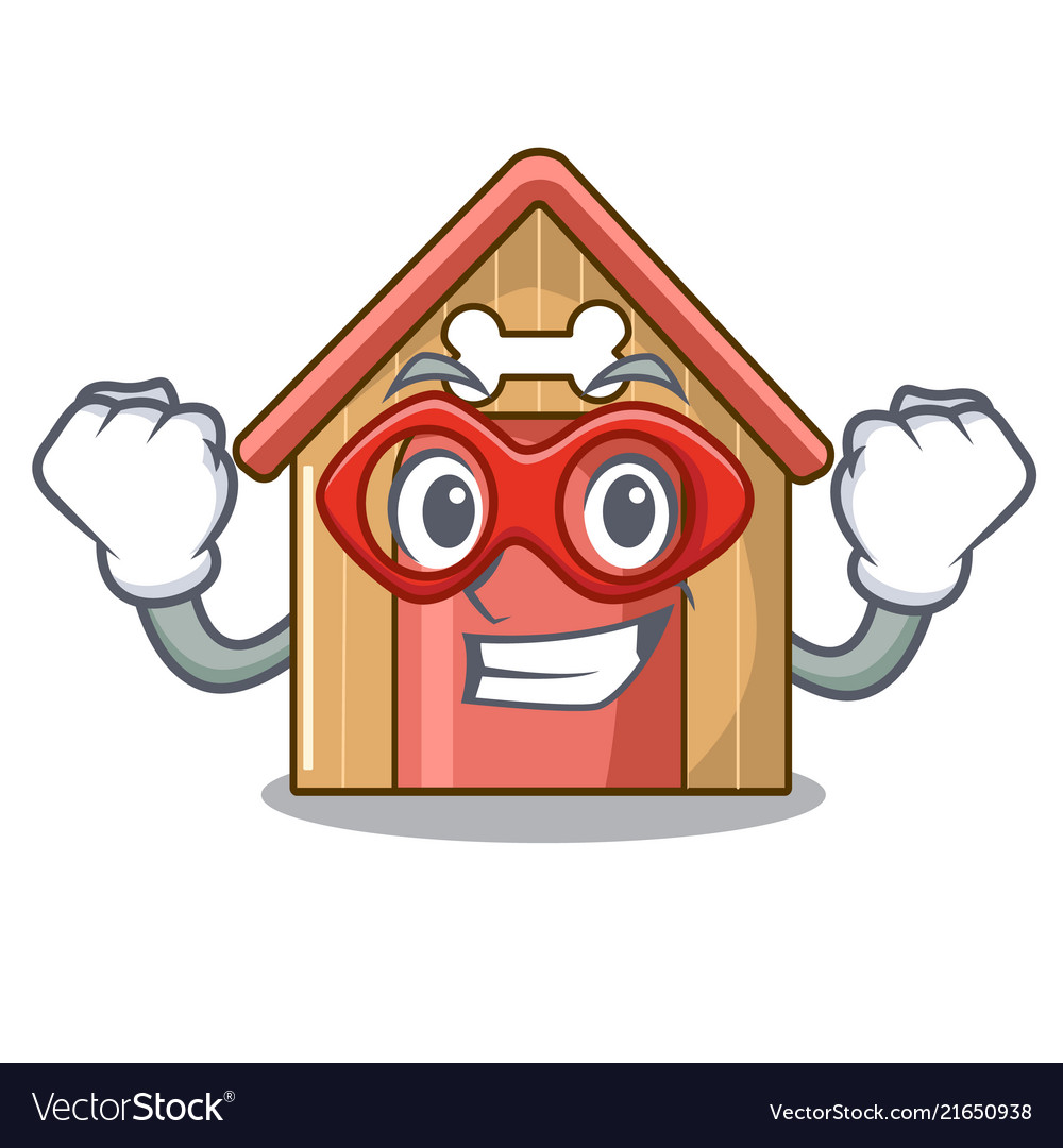 Super hero cartoon dog house and bone isolated