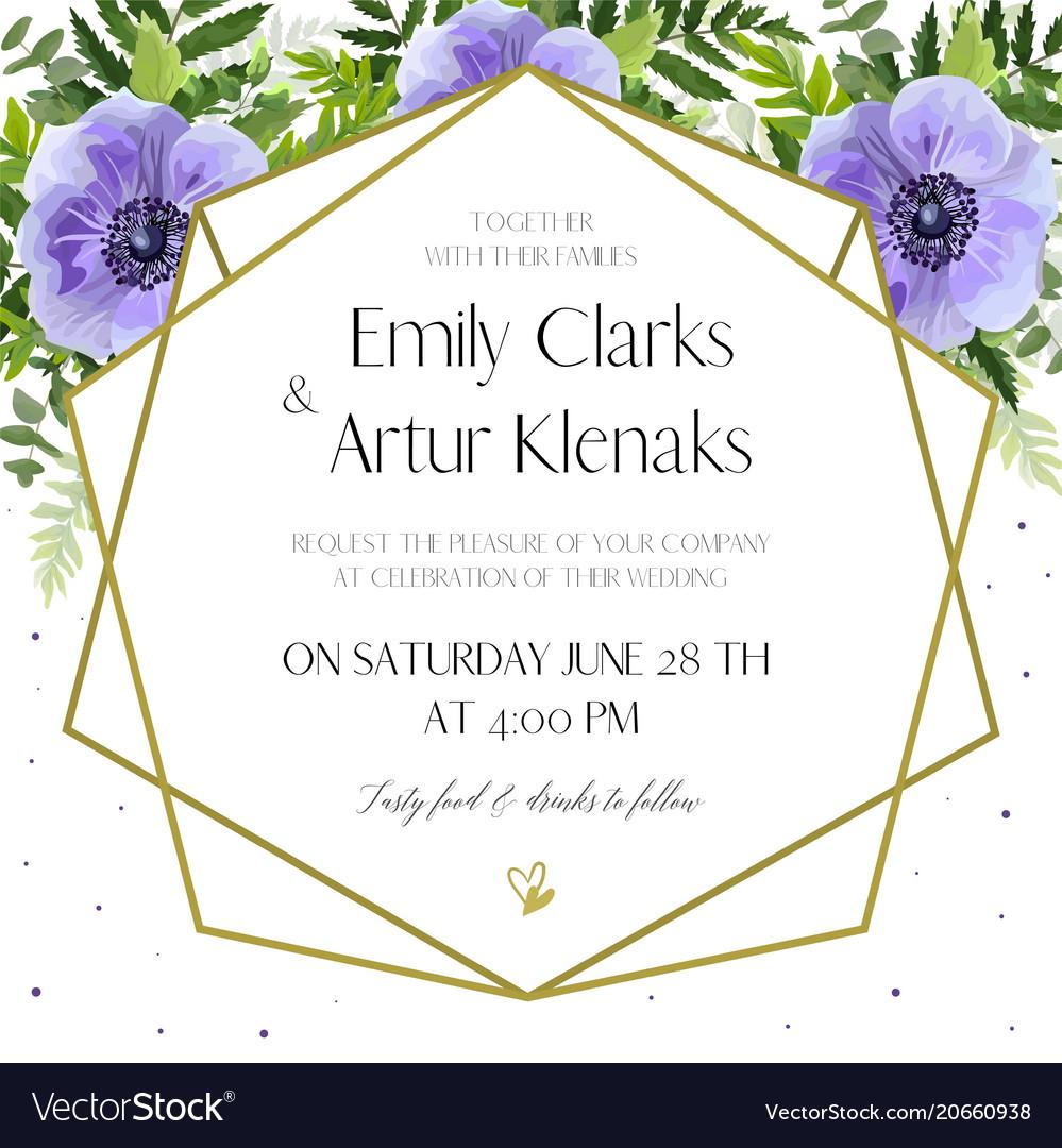 Wedding floral floral invite card design